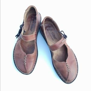Josef Seibel Brown Leather Mary Jane Flats 37